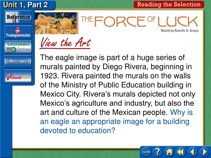 The eagle image is part of a huge series of murals painted by Diego Rivera, beginning in 1923. Rivera painted the murals on the walls of the Ministry of Public Education building in Mexico City. Rivera's murals depicted not only Mexico's agriculture and industry, but also the art and culture of the Mexican people.