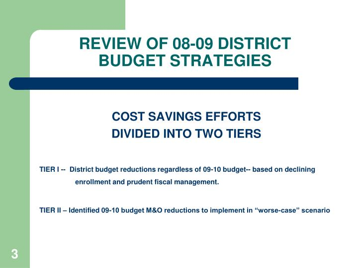 Review of 08 09 district budget strategies