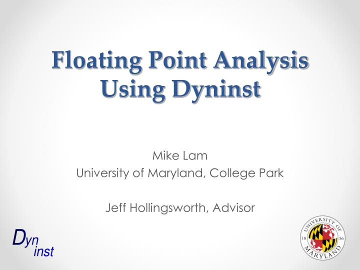 Floating Point Analysis