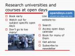 research universities and courses at open days