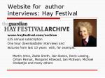 website for author interviews hay festival