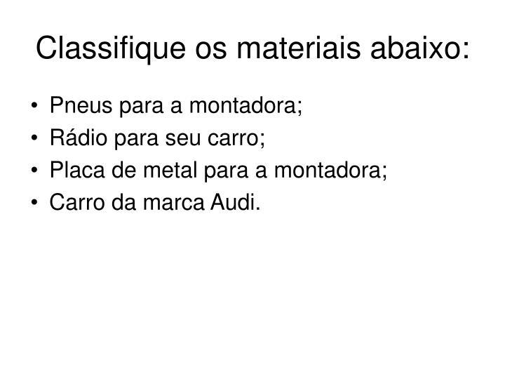 Classifique os materiais abaixo: