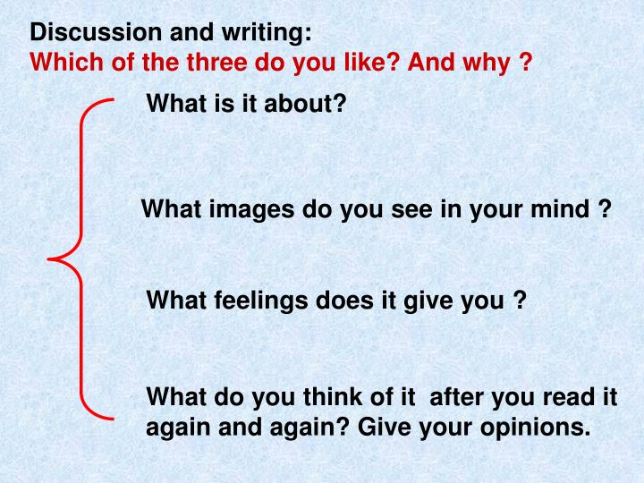 Discussion and writing: