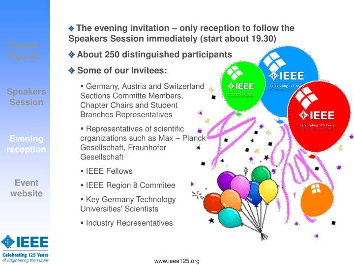 The evening invitation – only reception to follow the Speakers Session immediately (start about 19.30)