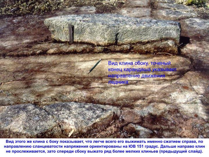Вид клина сбоку, точеный конец карандаша указывает направление движения ледника