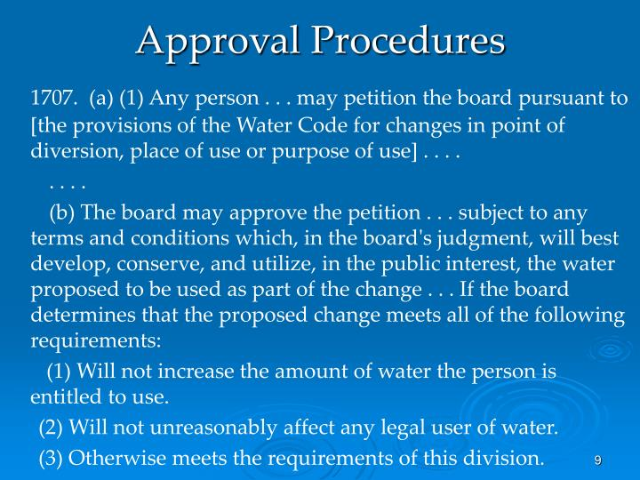 Approval Procedures