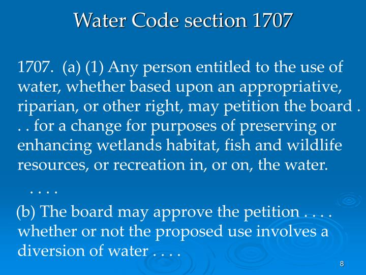 Water Code section 1707