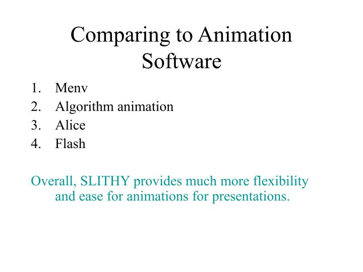 Comparing to Animation Software