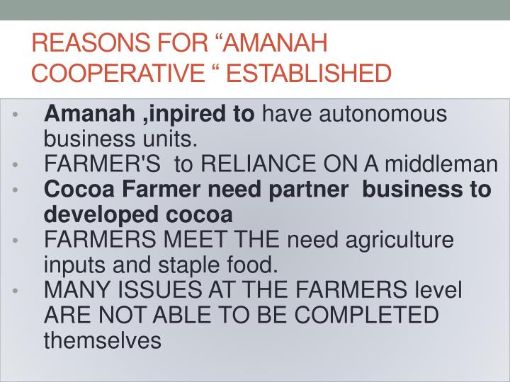 Reasons for amanah cooperative established