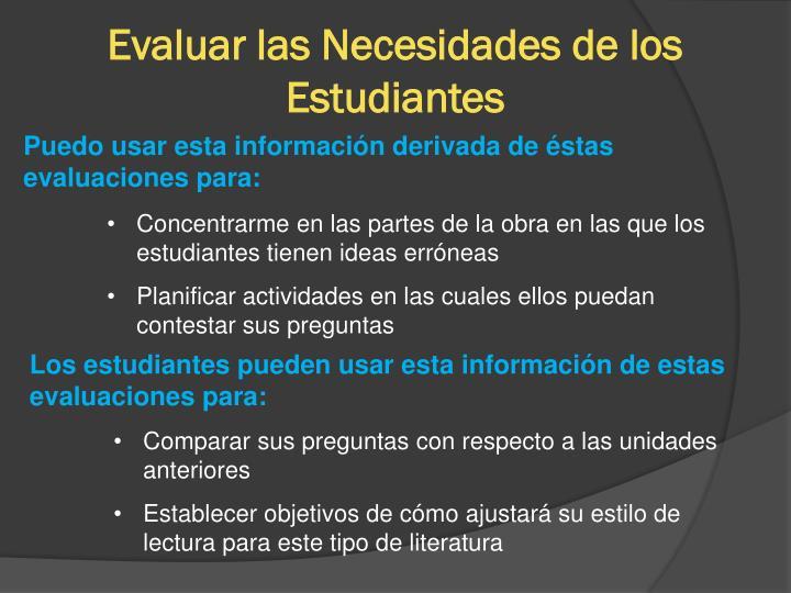 Evaluar las Necesidades de los Estudiantes