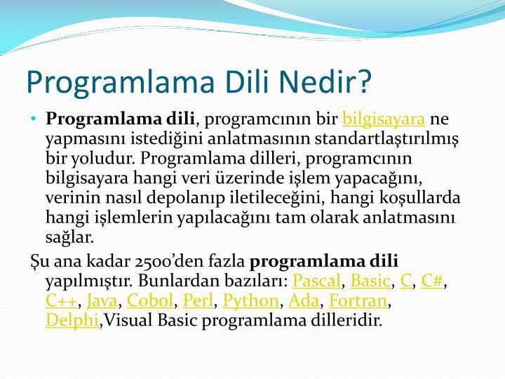 Programlama Dili Nedir?