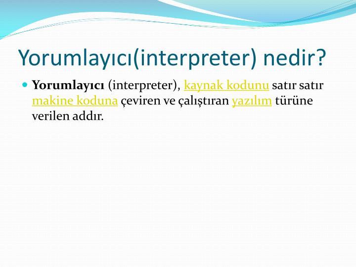 Yorumlayıcı(interpreter) nedir?