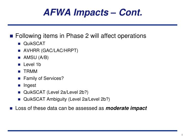 AFWA Impacts – Cont.
