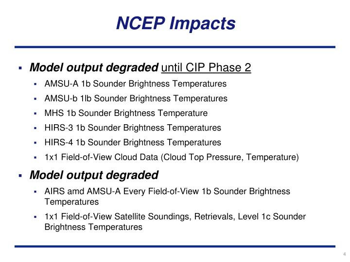NCEP Impacts