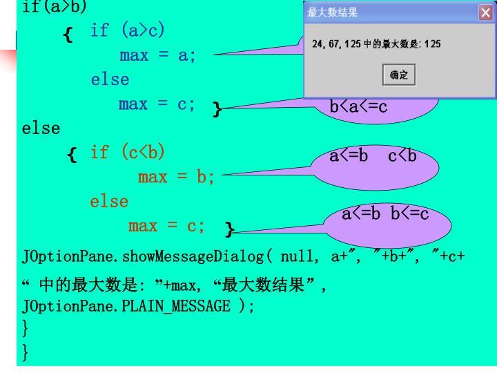 if(a>b)