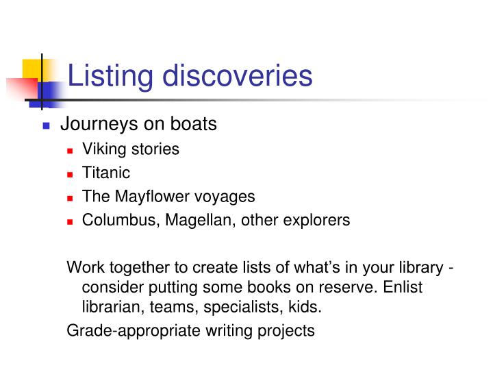 Listing discoveries