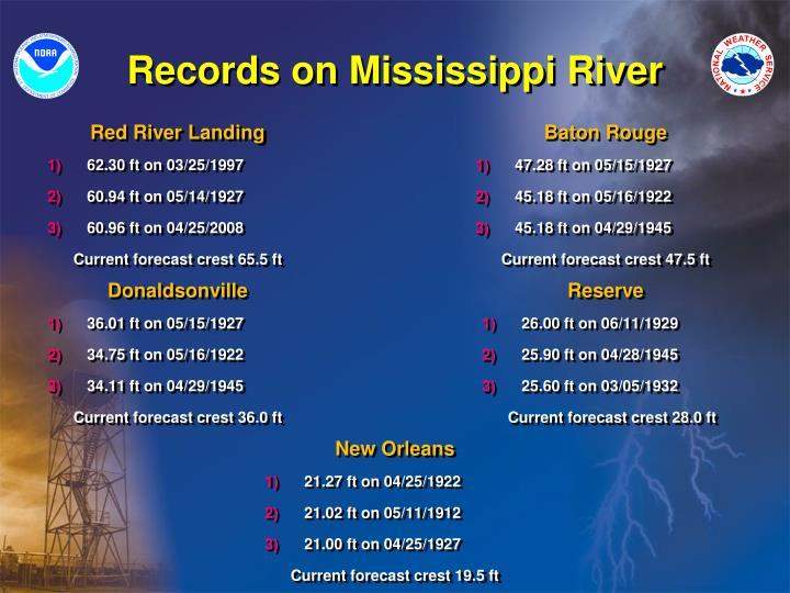 Records on Mississippi River
