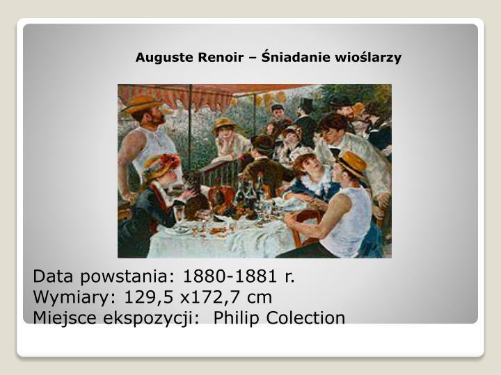 Data powstania 1880 1881 r wymiary 129 5 x172 7 cm miejsce ekspozycji philip colection