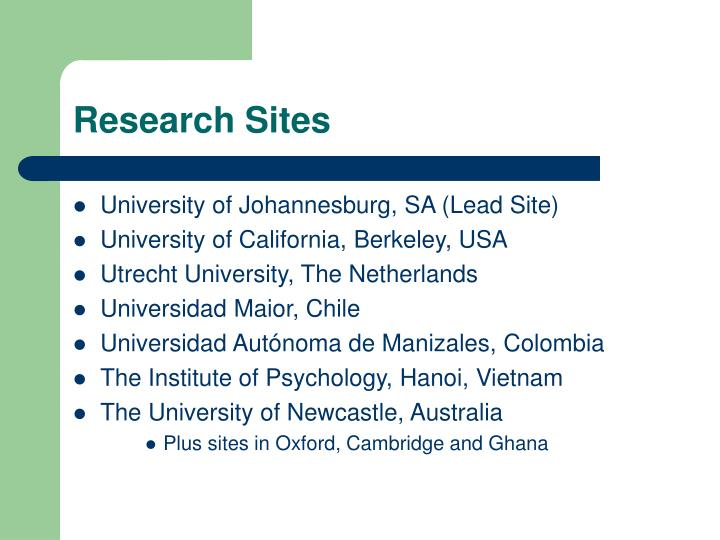Research sites