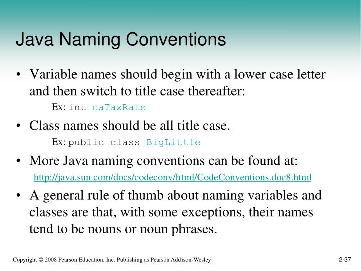Java Naming Conventions