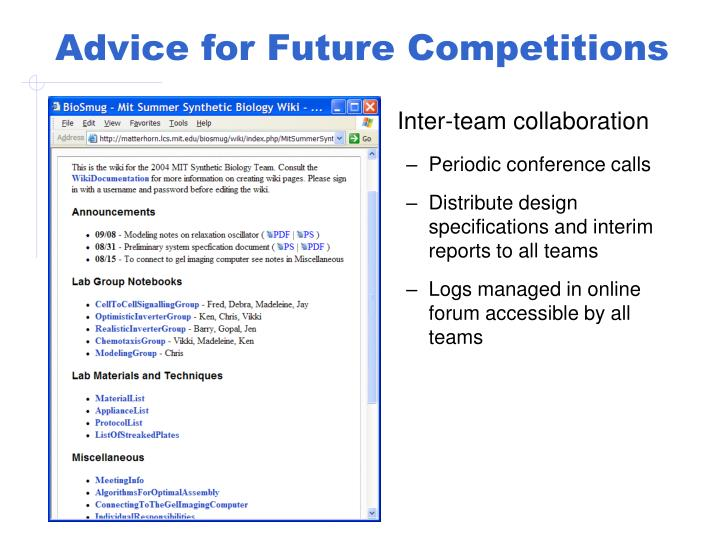 Advice for Future Competitions