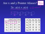 are x and y pointer aliases