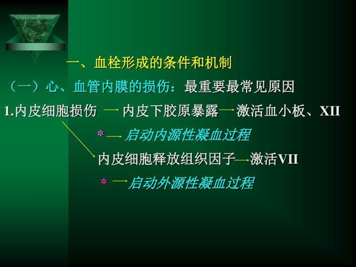 一、血栓形成的条件和机制