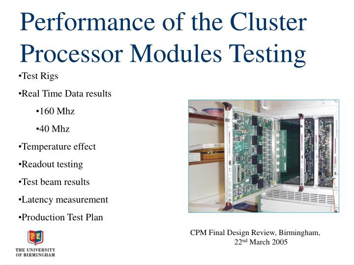 performance of the cluster processor modules testing n.