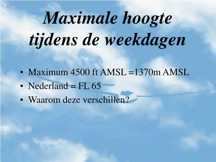 Maximale hoogte