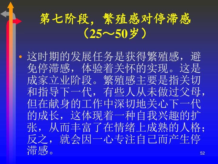 第七阶段,繁殖感对停滞感(