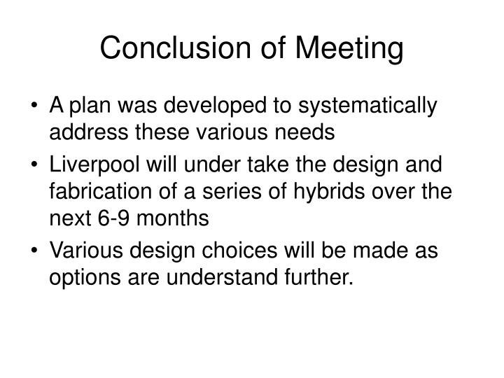 Conclusion of Meeting