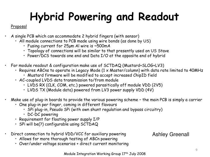 Hybrid Powering and Readout