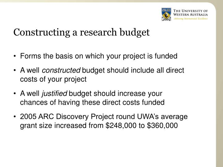 Constructing a research budget