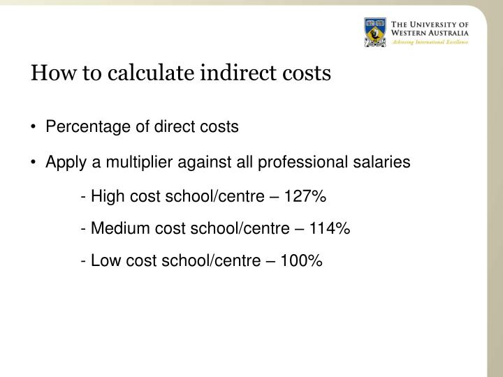 How to calculate indirect costs