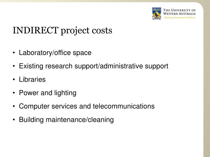 INDIRECT project costs