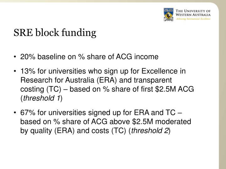 SRE block funding