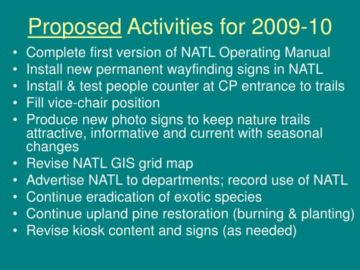 Proposed activities for 2009 10