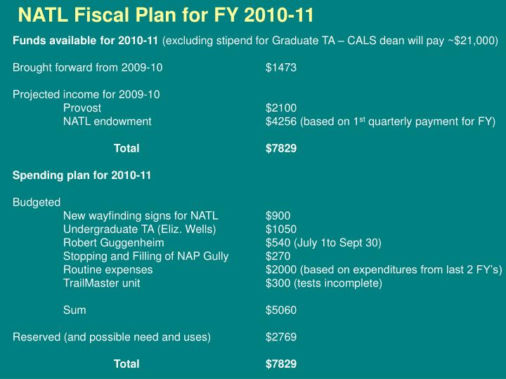 NATL Fiscal Plan for FY 2010-11