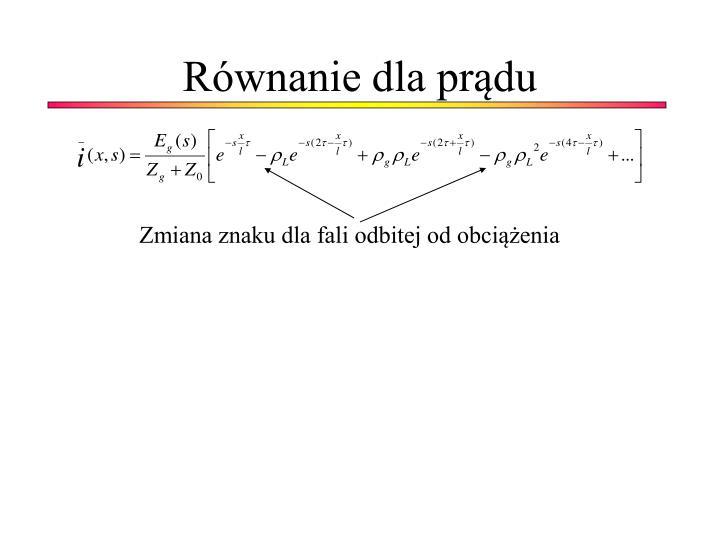 Równanie dla prądu