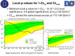 local p values for 1 cl b and cl s b
