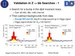 validation in z bb searches 1