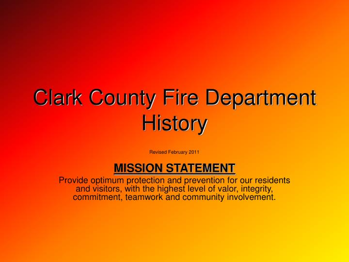 clark county fire department history n.
