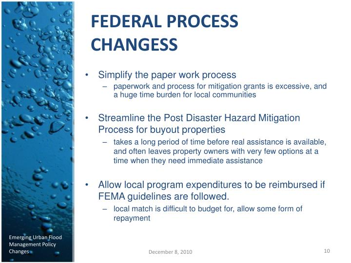FEDERAL PROCESS CHANGESS