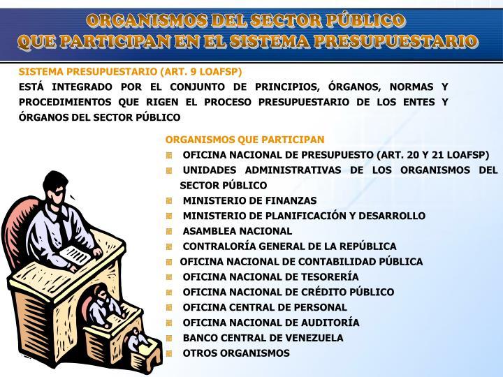 ORGANISMOS DEL SECTOR PÚBLICO