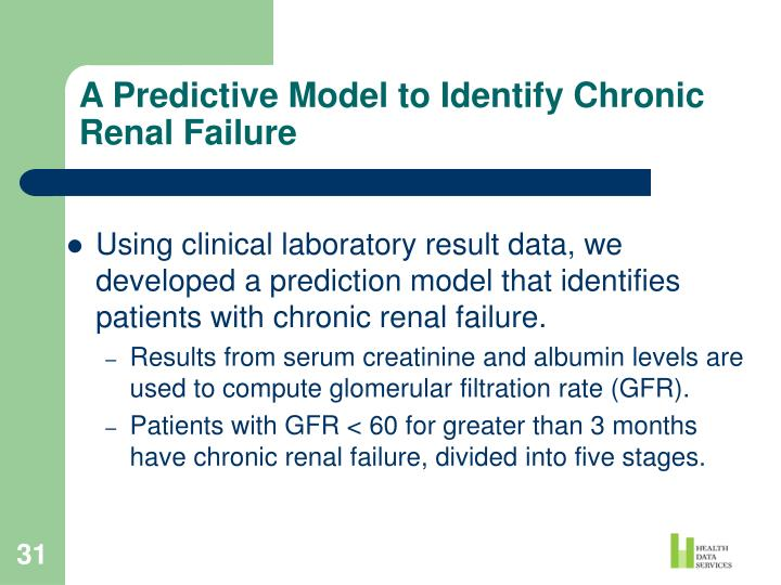 A Predictive Model to Identify Chronic Renal Failure