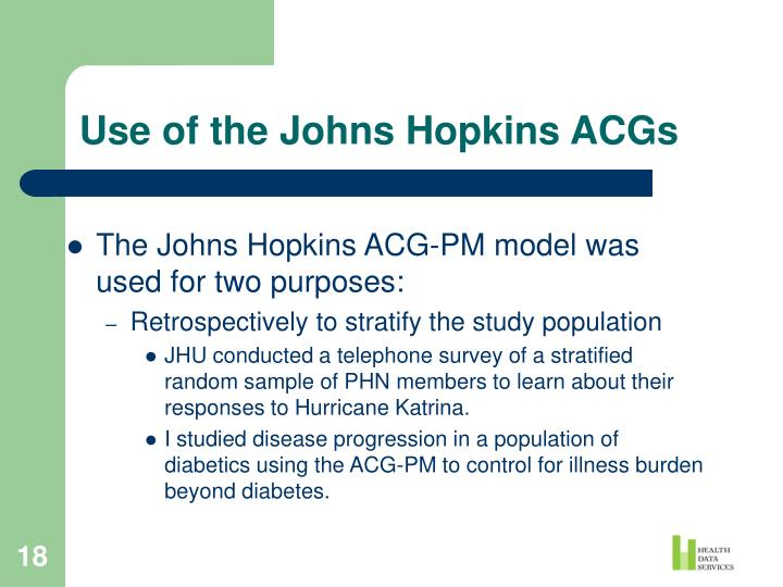 Use of the Johns Hopkins ACGs
