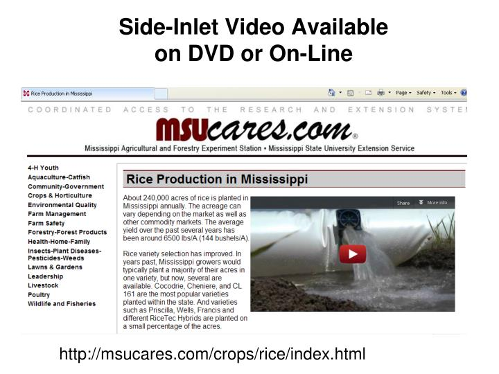Side-Inlet Video Available