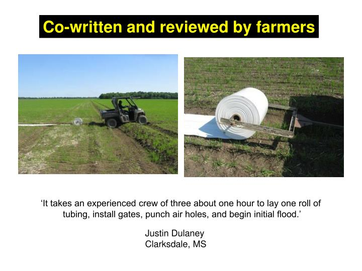 Co-written and reviewed by farmers