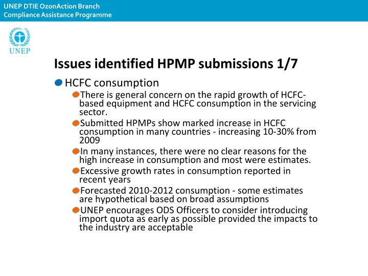 Issues identified HPMP submissions 1/7