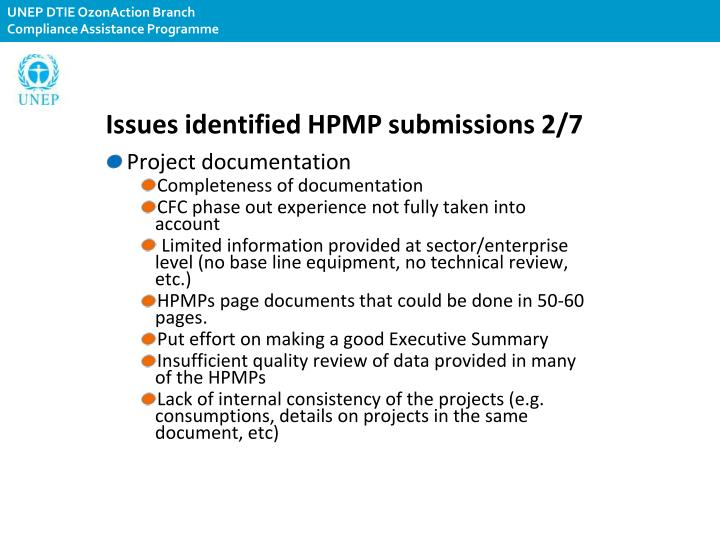 Issues identified HPMP submissions 2/7